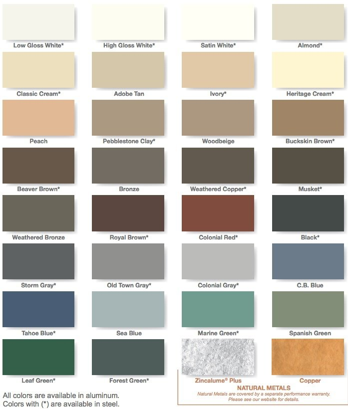 Aluminum Gutter Color Chart in San Jose, CA